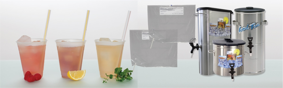 SAFTEA® LINER shown with tea urns and iced tea glasses